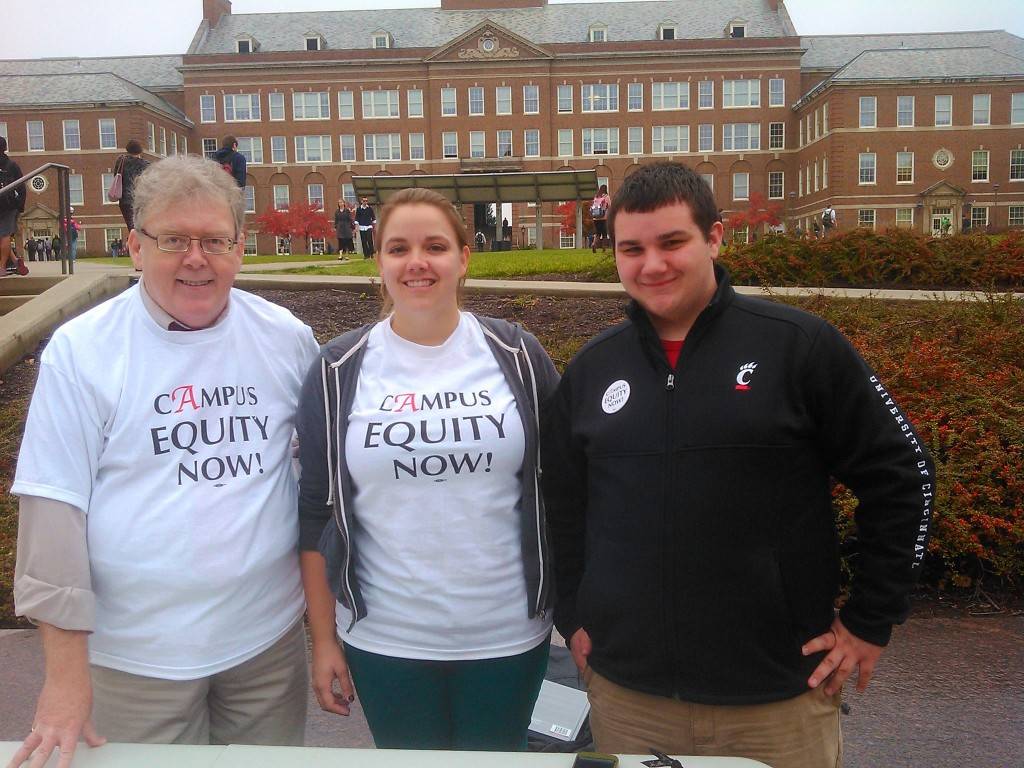 OCAAUP President John McNay working with student allies Kate Beltramo and Dylan Forster at the University of Cincinnati.